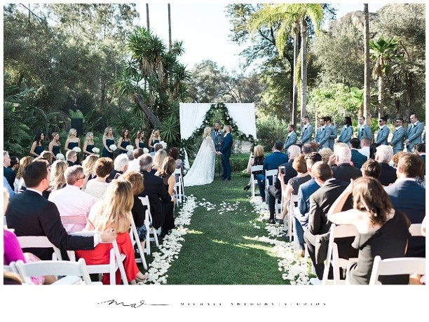 Piru Mansion Wedding Ceremony Flowers, Fabric Arch and Garland
